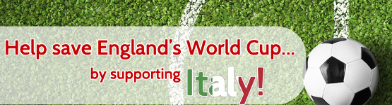 image describing Help save England's World Cup... by supporting Italy!